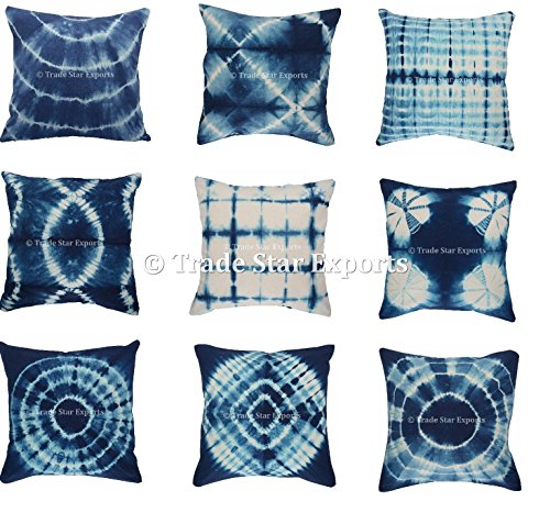 Trade Star Exports Set Of 5 Tie Dye Cushion Cover, 16x16 Indigo Pillowcase, Shibori Cushion, Cotton Square Pillow Cover, Boho Decorative Throw Pillows