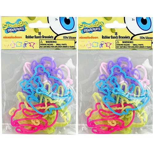 (Spongebob Squarepants Nickelodeon Shape Silicone Rubber Bands - 18 Rubber Bandz Bracelets - 6 Shapes and Multiple Colors)