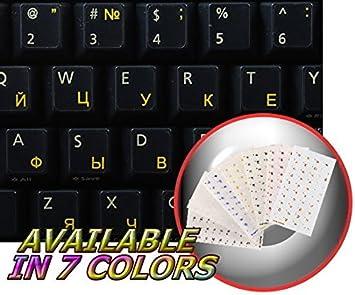 Pegatinas cirílicas rusas para teclado con letras amarillas sobre fondo transparente para escritorio, portátil y portátil