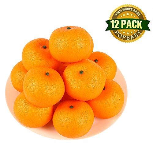 HAKSEN 12 PCS Artificial Lifelike Simulation Oranges Fake Fruit Home Kitchen Cabinet Decoration by HAKSEN