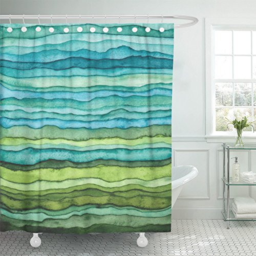 (Emvency Shower Curtain Abstract Bright Blue and Green Waves Stripped Watercolor Brush Drawn Waterproof Polyester Fabric 72 x 72 inches Set with Hooks)
