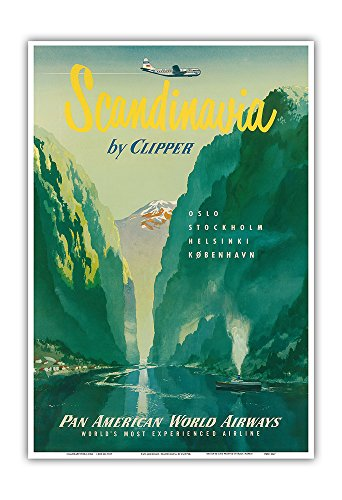 Scandinavia by Clipper - Oslo Stockholm Helsinki København (Copenhagen) - Norwegian Fjords - Pan American World Airways (PAA) - Vintage Airline Travel Poster c.1951 - Master Art Print - 13in x 19in (Pan American Airways)
