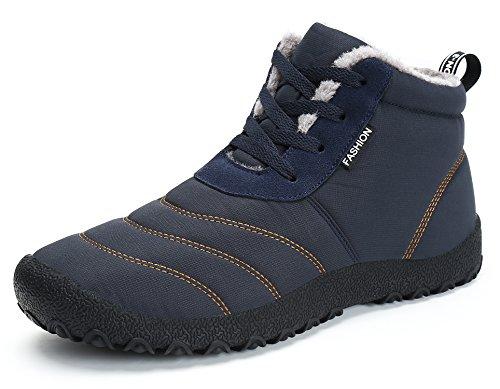 Herren Damen Winterschuhe Warm Gefüttert Winter Stiefel Wasserdicht Kurz Schnür Boots Schneestiefel Outdoor Freizeit Schuhe Blau