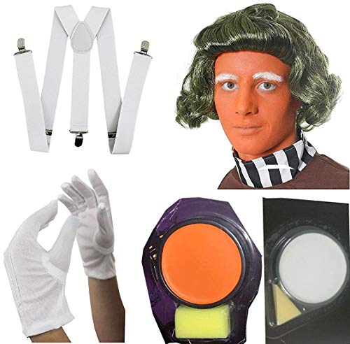 Rimi Hanger Chocolate Factory Worker Fancy Dress Adult Green Wig Face Paint White Gloves and Braces Set One Size -
