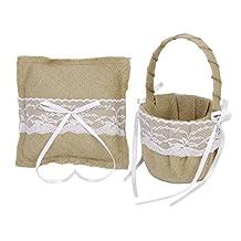 MonkeyJack Vintage Burlap Lace Flower Girl Basket + Ring Bearer Pillow With Burlap Lace Decor