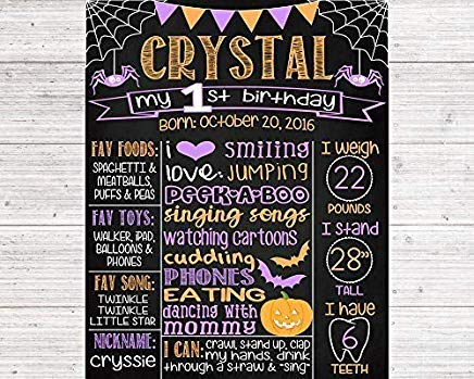 MaxwellYule Halloween First Birthday Chalkboard Poster Orange Purple 1St Birthday Boy Or Girl Any Age Printable Digital File Wood Sign Plaque Home Wall Art Decoration Sign Gift