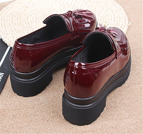 School Platform Heel Ladies Deep Women Shoes Red Uniform Dress Anti Oxford Skid Work Mid Use Shoe txqwpYIca