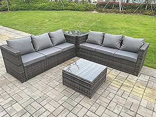 Fimous Patio 6 Seater Rattan Corner Sofa Set