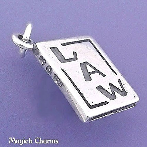 Sterling Silver 3-D LAW BOOK Scales Of Justice Lawyer Judge Charm - d42089 Jewelry Making Supply Pendant Bracelet DIY Crafting by Wholesale Charms ()