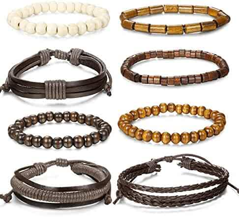 Jstyle 8 Pcs Braided Leather Bracelet for Men Women Wooden Beaded Bracelets Wrap Adjustable