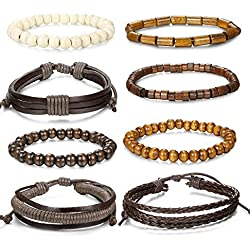Jstyle 8Pcs Braided Leather Bracelet for Men Women Wooden Beaded Bracelets Wrap Adjustable