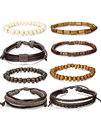 Jstyle 8 Pcs Braided Leather Bracelet for Men Women...