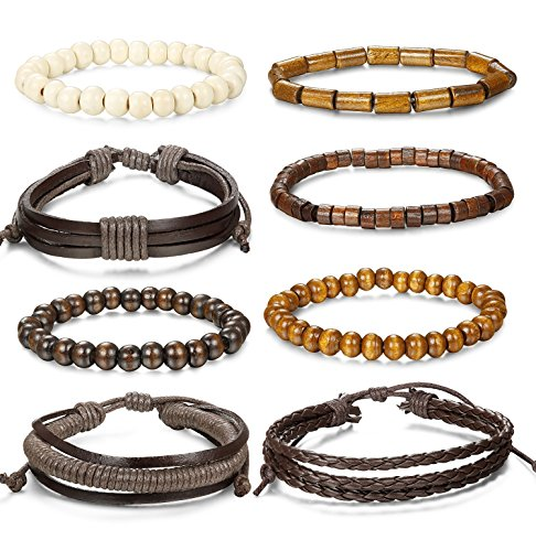 Jstyle 8Pcs Braided Leather Bracelet for Men Women Wooden Beaded Bracelets Wrap Adjustable Beaded Leather