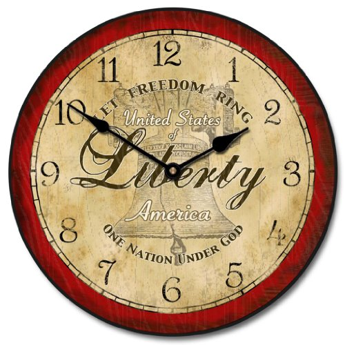Liberty Wall Clock, Available in 8 Sizes, Most Sizes Ship 2-3 Days, Whisper Quiet.