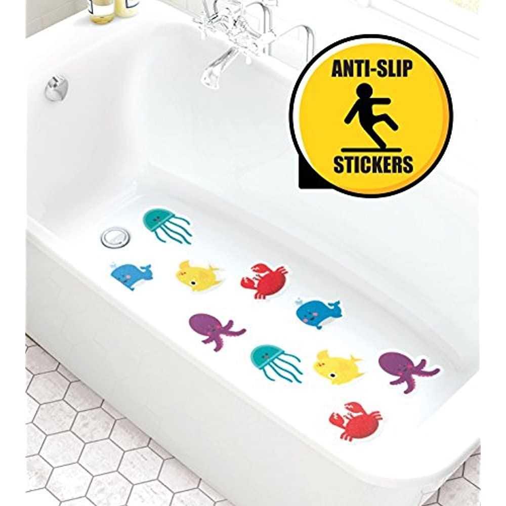 Non Slip Bathtub Stickers Pack Of 10 Large Sea Creature