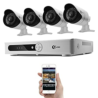 Xvim 4CH Security Camera System CCTV Surveillance System with 720p DVR 4pcs 720P 1200TVL Cameras Outdoor Metal Housing Weatherproof Hard Drive Not Included -100feet Night Vision -IR Cut build in -Quick Remote Access via smart phone