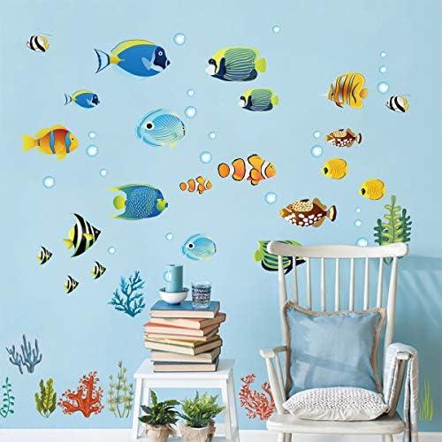 decalmile Arcoiris Pez Pegatinas Pared Oceano Desmontable Adhesivos Pared Decorativos para Ba/ño Ni/ños Infantiles Habitaci/ón