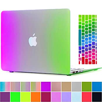 MacBook Air 13'' Case and Keyboard Protector,AICOO Ultra Slim Matte Rubberized Colorful Rainbow Case Cover with Keyboard Cover Skin for MacBook Air 13.3 inch (A1466/A1369),Purple Green