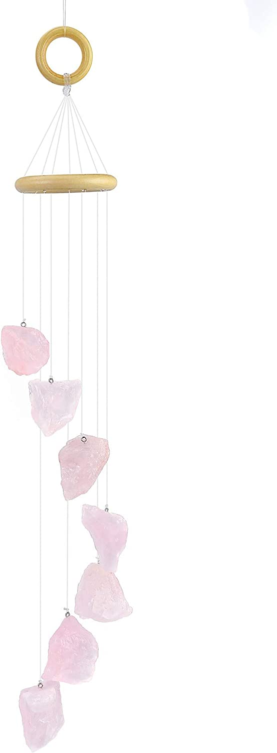 Yoption Rose Quartz Raw Stones Wind Chime, Natural Crystal Windchimes for Home Garden Decoration Ornament