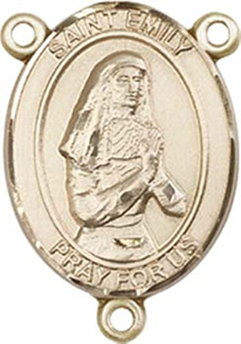 14K Gold Filled Saint Emily De Vialar Rosary Centerpiece Medal, 3/4 Inch