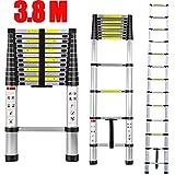 Elephant Xu®3.8m Telescopic Ladder Aluminium Ladder Foldable Extendable Extension Steps