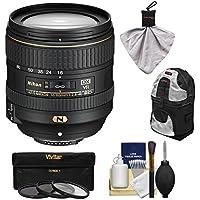 Nikon 16-80mm f/2.8-4E VR DX AF-S ED Zoom-Nikkor Lens with 3 UV/CPL/ND8 Filters + Backpack + Kit for D3200, D3300, D5300, D5500, D7100, D7200 Camera
