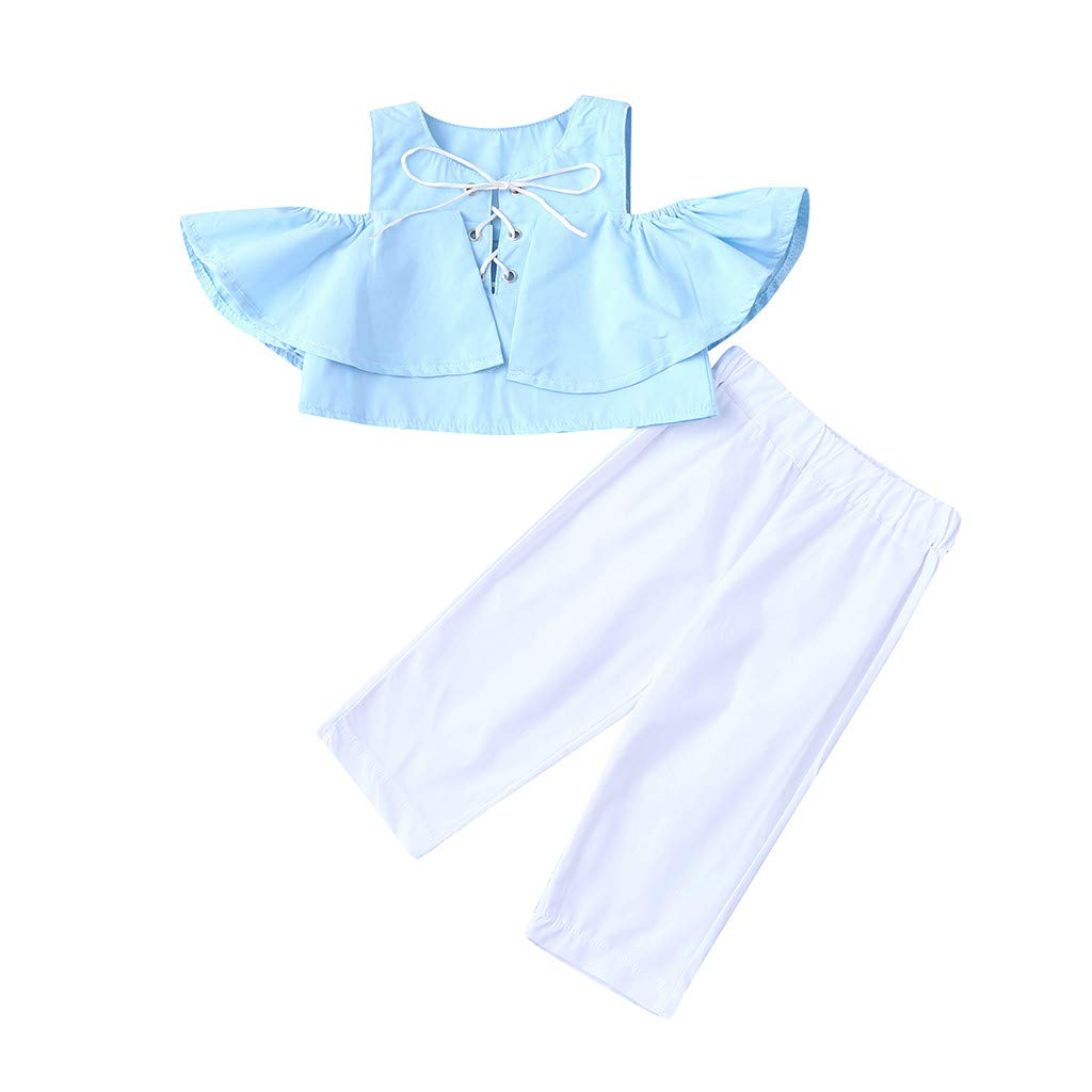 Jchen 2Pcs Baby Kids Little Girls Cold Shoulder Lace Up Crop Tops Solid Color Long Pants Summer Casual Outfits for 0-4 Yrs (Age:2-3 Years Old, Blue)