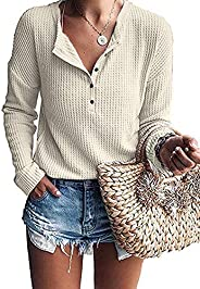 WNEEDU Women's Waffle Knit Tunic Tops Loose Long Sleeve Button Up V Neck Henley Sh