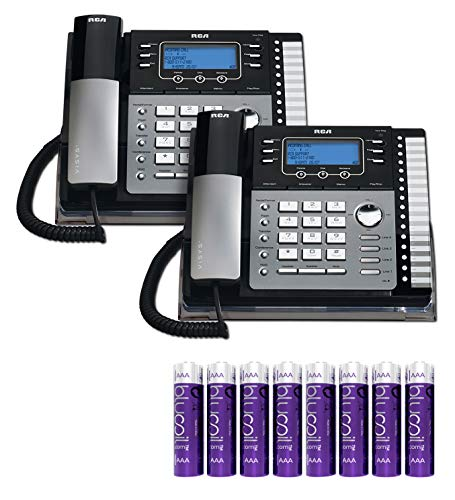 RCA 25424RE1 4-Line Expandable Phone System - Office Desk Telephone with Built-in Caller ID and Intercom (2-Pack) Bundle with 8 Blucoil AA Batteries ()