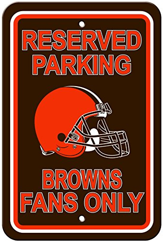 NFL Cleveland Browns Plastic Reserved Parking Sign, One Size, Orange by Fremont Die