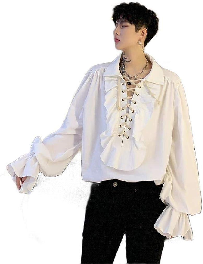 Comaba Renaissance Camisa Vaquera Holgada de Manga Larga con Volantes para Hombre - Blanco - US X-Small: Amazon.es: Ropa y accesorios