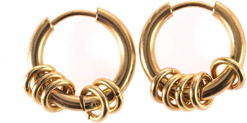 couleur acier MOONRING Hip-hop Hoop boucles doreilles cercle en acier inoxydable boucles doreilles pour femmes hommes bijoux pour cadeau danniversaire