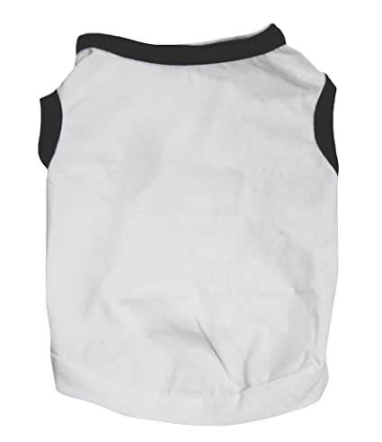 d6e88e75af0c Petitebella Puppy Clothes Dog Dress Plain White Black Cotton T-Shirt  (Medium)