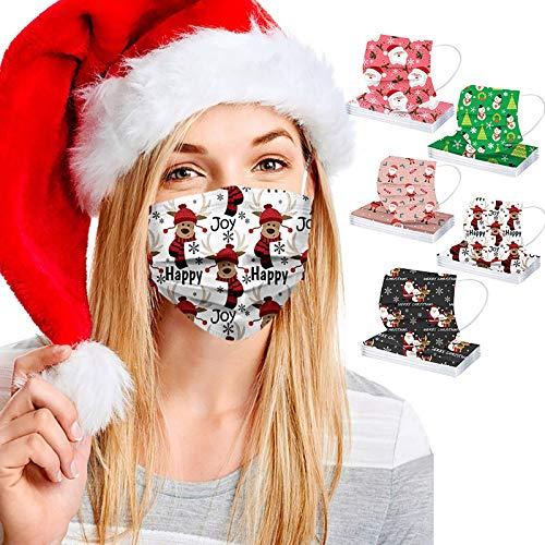 50 Piezas Adulto Dese_chable con Estampado de Navidad Papá Noel ????Á????????????????????????????????, 3 Capas Transpirable y Suave con Impresión de Dibujos Animados, Mujer Hombre Unisexo, al Aire Libre