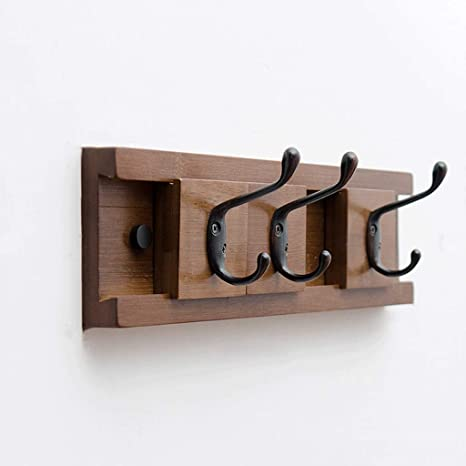 Amazon.com: Perchero de madera maciza con 3 ganchos para ...