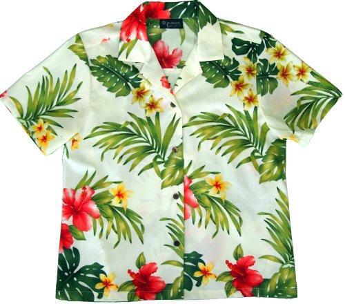 RJC Womens Tropical Summer Hibiscus Camp Shirt in Beige - 3X - Hibiscus Shirt Camp