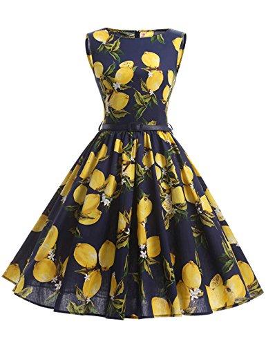 MicBridal® Mujer Vestido Clásico 1950s Retro Encaje Tejer V-Back Tunica Blau Lemon