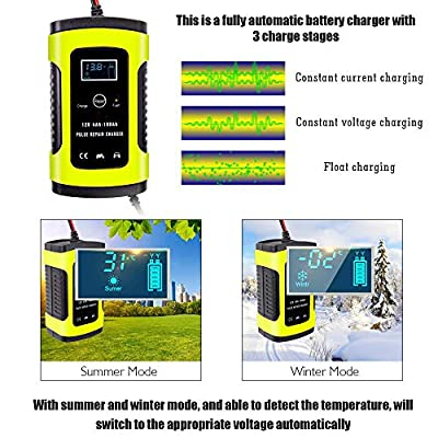 B-Qtech Automotive Battery Charger Maintainer 5 Amp 12V Smart Maintainer for Car, Motorcycle, Lawn Mower, Boat, RV, SUV, ATV: Automotive