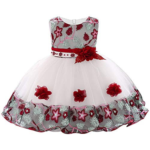 Children Princess Party Kids Dresses for Girls Cake Tutu Lace Flower Girls 1-8 Yrs Baby Girls Clothes Kids Wedding Party Dress,Wine Red,6