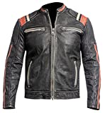 Spazeup Retro Black Motorcycle Cafe Racer Leather Biker Jacket