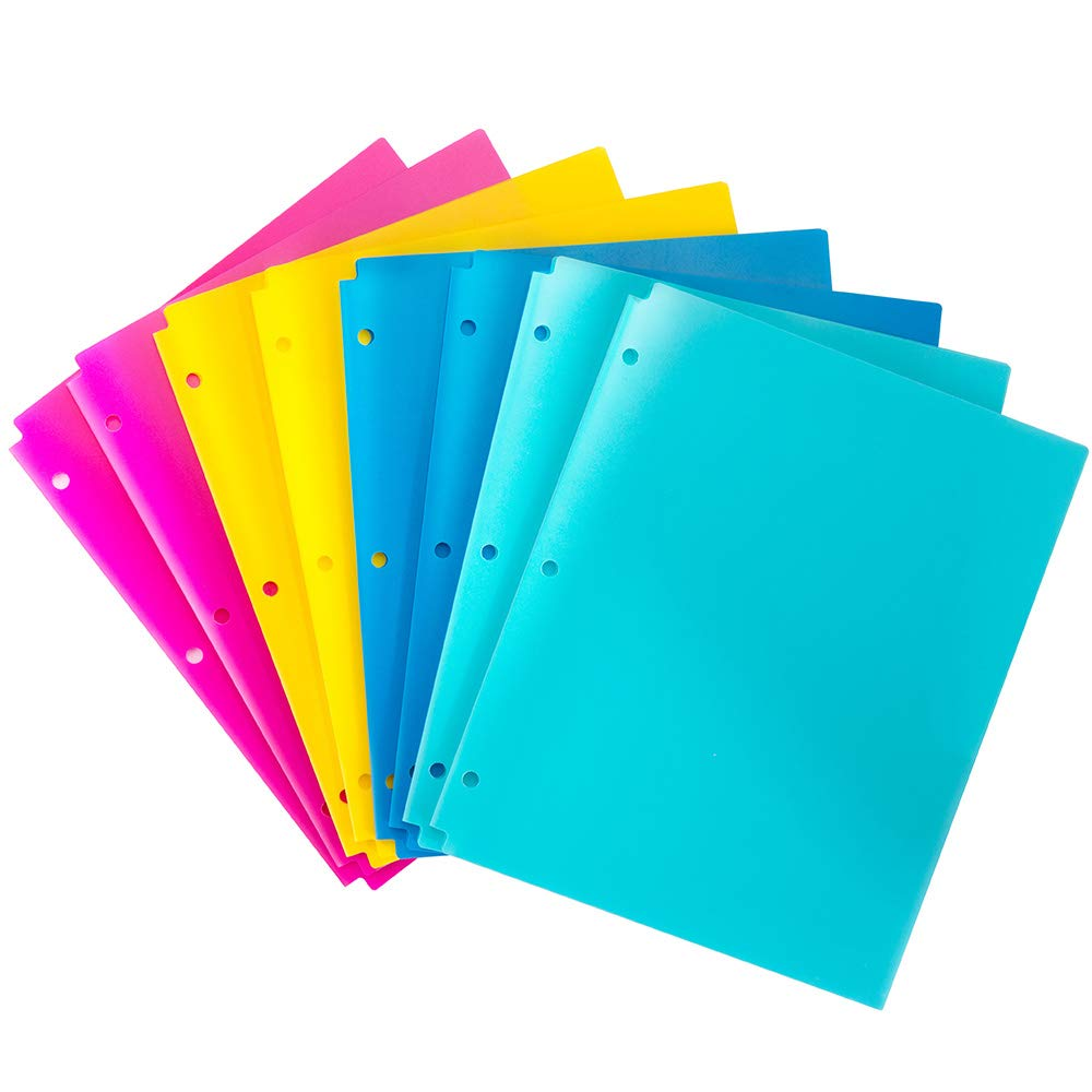 MAKHISTORY Plastic 2 Pocket Folders with 3 Holes Punched - 8 Pack, for 3 Ring Binder, Keeps Letter Size Paper, Bright Colors by MAKHISTORY
