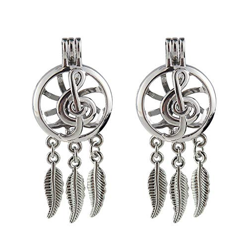 (Silver Plated Dream Catcher Music Note Locket Pendant Essential Oil Diffuser)