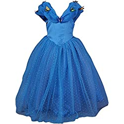 JerrisApparel New Cinderella Dress Princess Costume Butterfly Girl (4 Years, Blue)