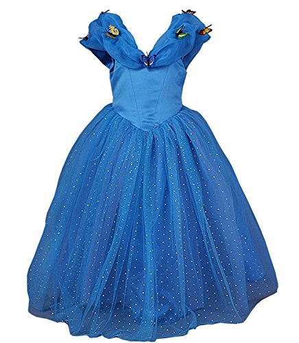 JerrisApparel New Cinderella Dress Princess Costume Butterfly Girl (7 Years, Blue)