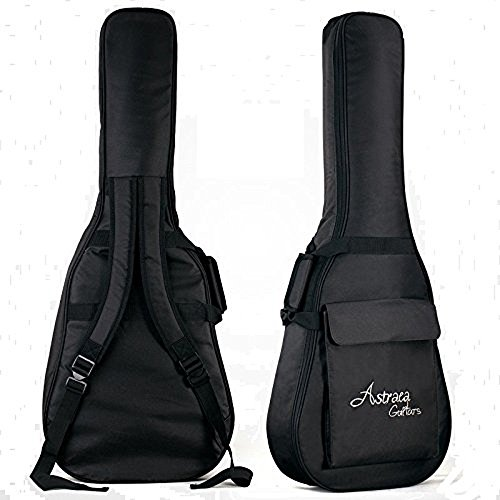JIAN YA NA 40 41 Inch Acoustic Guitar Gig Bag Waterproof Thicken Padded Bag Advanced Guitar Case with Double Strap and Outer Pockets (Black)