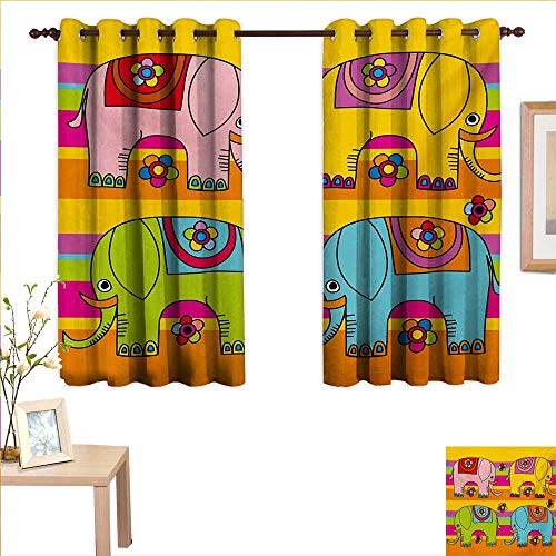 Superlucky Elephant Nursery Customized Curtains Funky Floral Eastern Elephants Colorful Hand Drawn Asian Fantasy Figures 63