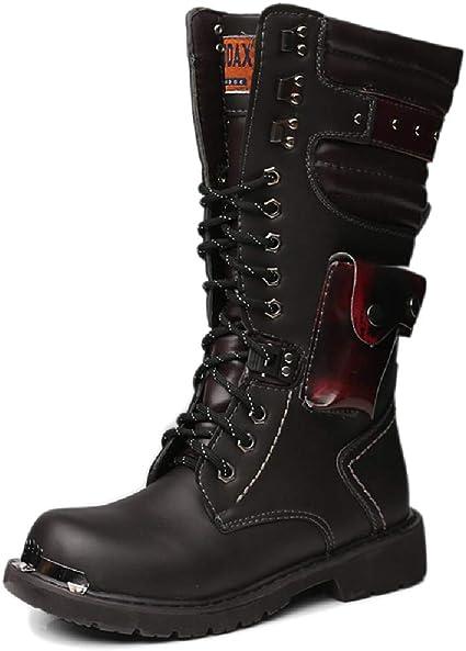 Belt Buckle Leather Combat Boots Rock