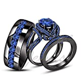 ArtLine Jewels Round Cut Blue Sapphire Solid 14K Black Gold Plted His & Her Engagement Trio Ring Set