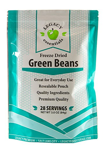 Legacy Essentials Freeze Dried Green Beans - 15 Year Shelf Life for Emergency Survival Food Storage Supply - Disaster Preparedness (Quantity 1) ()