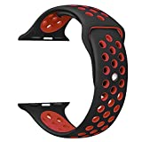OULUOQI for Apple Watch Band 42mm, Soft Silicone Replacenent Band fo Apple.Watch Series 3/2/1,.Nike+, Sport, Edition, M/L Size ( Black/Burnt Red